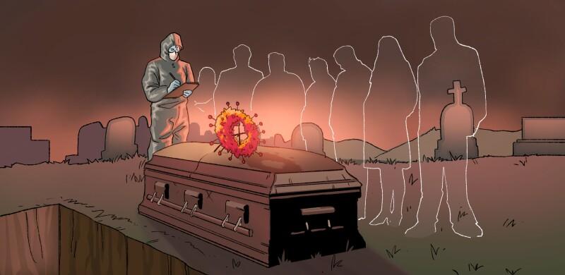 La pandemia del COVID-19 ha venido a cambiar hasta los rituales de muerte y despedida en varias comunidades de las Américas.  Ilustración: Juan García.