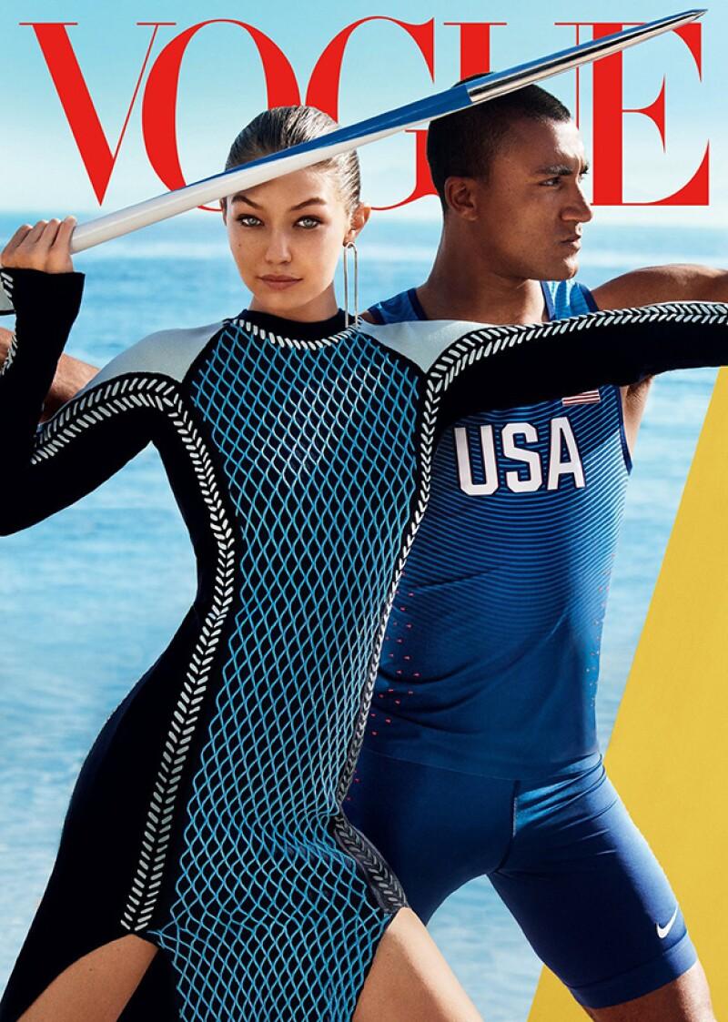 La modelo lució increíble en su primera portada para la edición americana de la revista, donde posó con el atleta  Ashton Eaton.