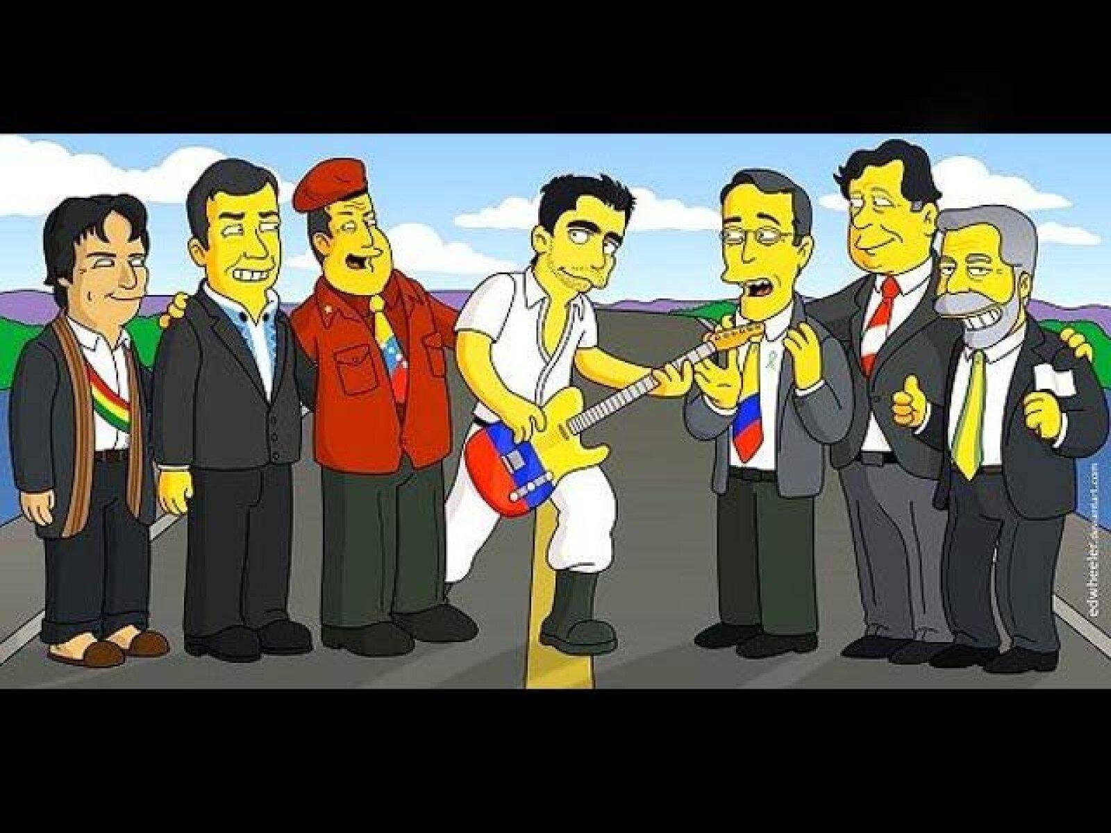 Evo Morales, Rafael Correa, Hugo Chávez, Álvaro Uribe, Alan García y Lula da Silva simpsoneados por Edwheeler