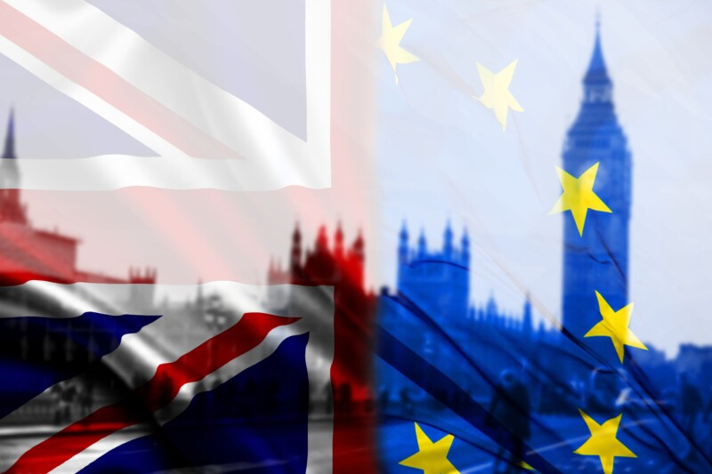 UK flag, EU flag and Big Ben