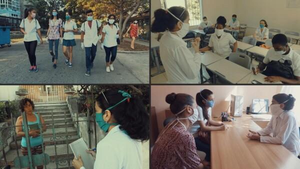 Una médica y sus alumnos salen a combatir el coronavirus en Cuba