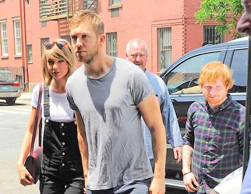 Taylor y Calvin en una salida con el cantante Ed Sheeran, quien es muy amigo de la estadounidense.