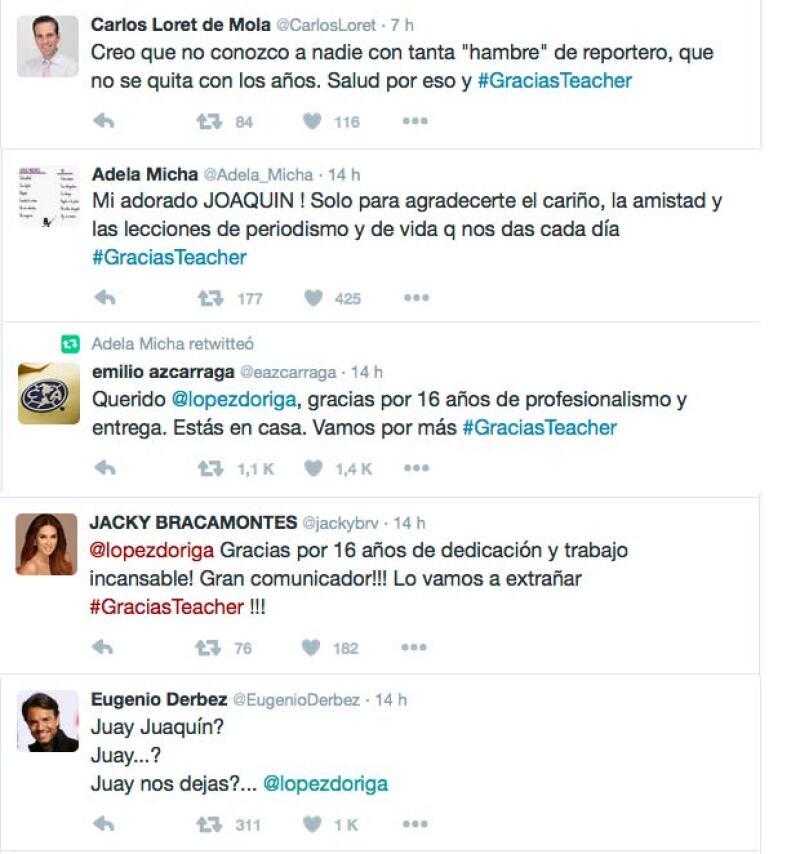 Estos fueron algunos de los tuits que algunas de las personalidades mexicanas publicaron tras la renuncia de López Dóriga.
