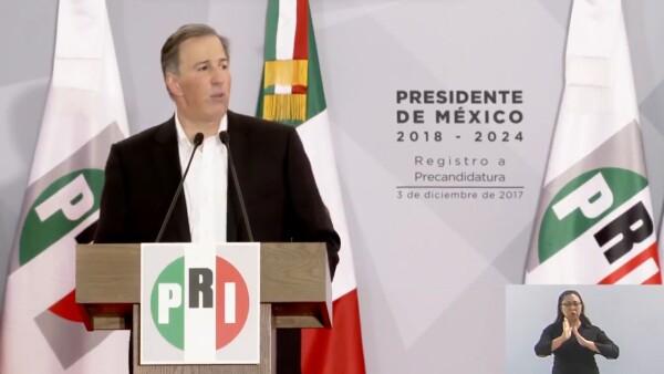 El discurso de José Antonio Meade al registrarse como precandidato del PRI