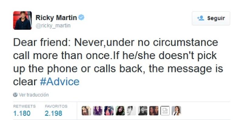 Con este tuit, Ricky aconsejó a sus fans sobre lo que NO deben hacer con un hombre.