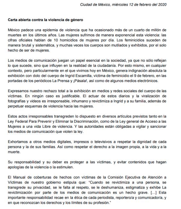 Carta abierta contra la violencia de género