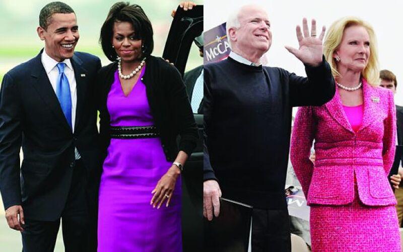 Durante la campaña para llegar a la Casa Blanca Cindy McCain lució atuendos de Oscar de la Renta y Chanel, mientras que Michelle Obama se vistió con Maria Pinto, Gap y H&M.