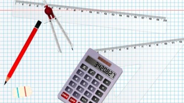 Regla compas escuadra lapiz calculadora