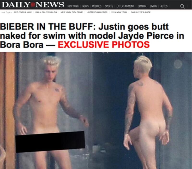 Justin Bieber fue fotografiado paseando sin ropa por su hotel en Bora Bora.