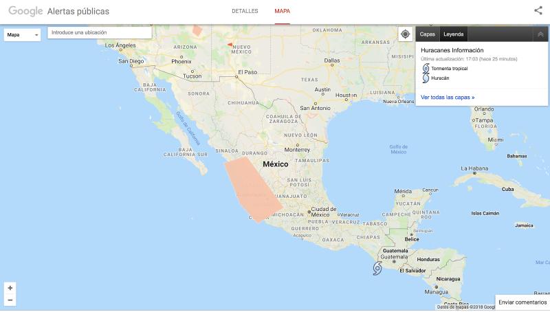 Alertas y Mapa de Crisis de Google