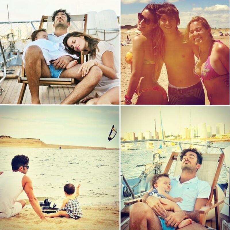 La familia completa tomó un merecido descanso en la playa.
