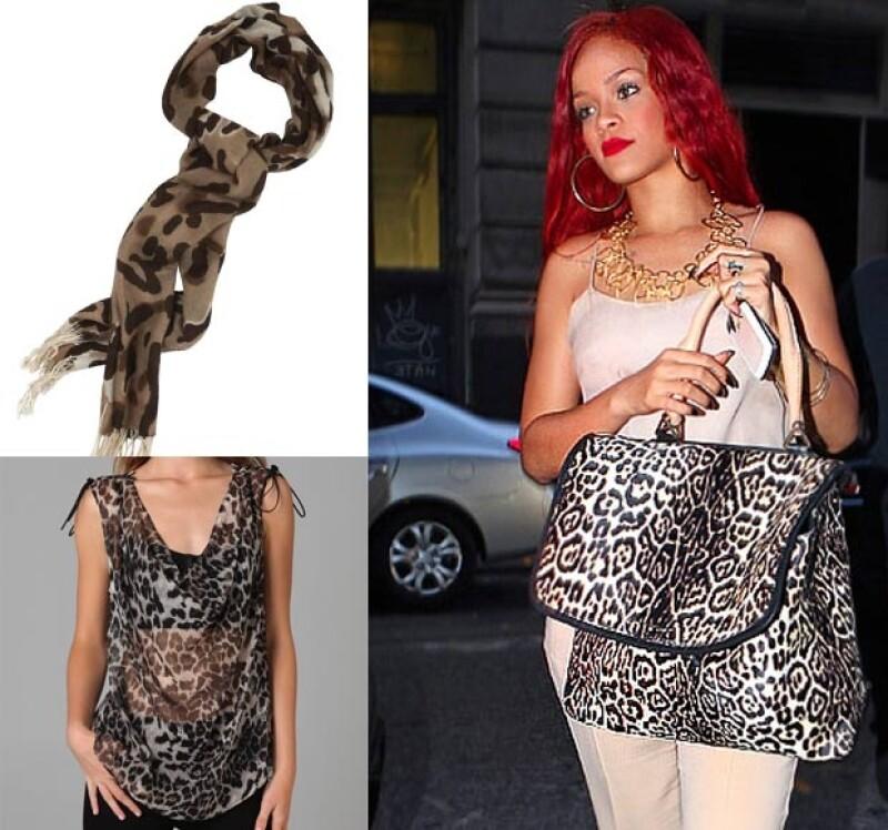 Aquí varias opciones del animal print. La cantante Rihanna lo usa en su bolsa, otras opciones son en un foulard, como este d Roberto Verino, o en la blusa, como esta de Haute Hippie.
