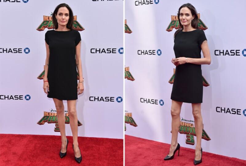 Hace unas semanas, en la premiere de Kung-Fu Panda 3, Angelina llamó la atención por sus piernas y brazos extremadamente delgados.