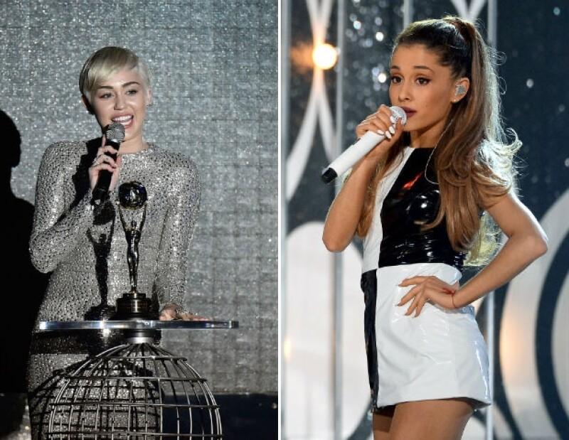 Miley Cyrus y Ariana Grande también quieren llevarse un moonman a casa.