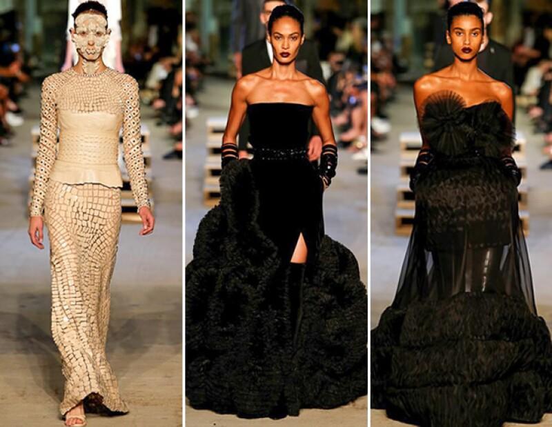 La propuesta trata de vestidos de noche con mucho volumen.
