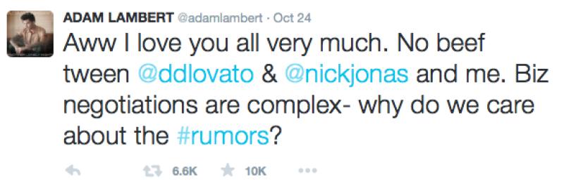 Adam decidió tuitear la verdad de la situación.