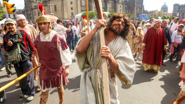 A public reenactment of the Via Crucis in the Zocalo of Mexico City