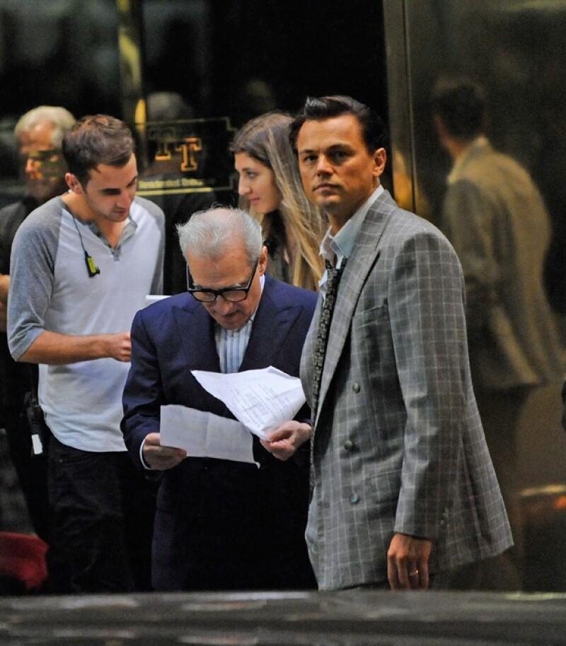 Leonardo DiCaprio y Martin Scorsese, director de `The Wolf of Wallstreet´durante el rodaje en