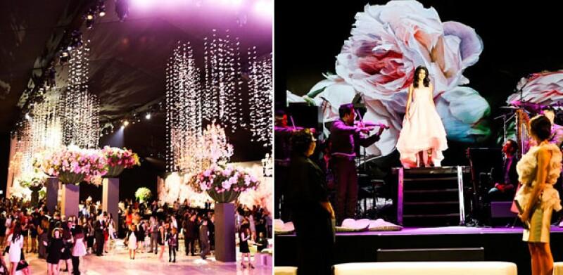El lugar fue decorado con mariposas artificiales y árboles de cereza de más de 9 metros.