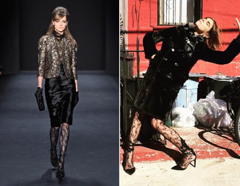 Tanto en  Badgley Mischka Fall 2015 como en el look de la afamada editora Carine Roitfeld, complementaron medias con diseño y piezas de terciopelo o piel.