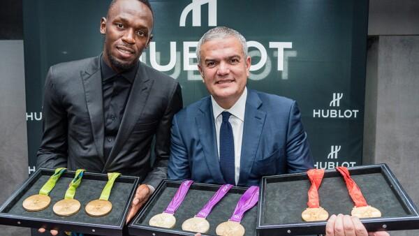 Usain Bolt y Ricardo Guadalupe, CEO de Hublot