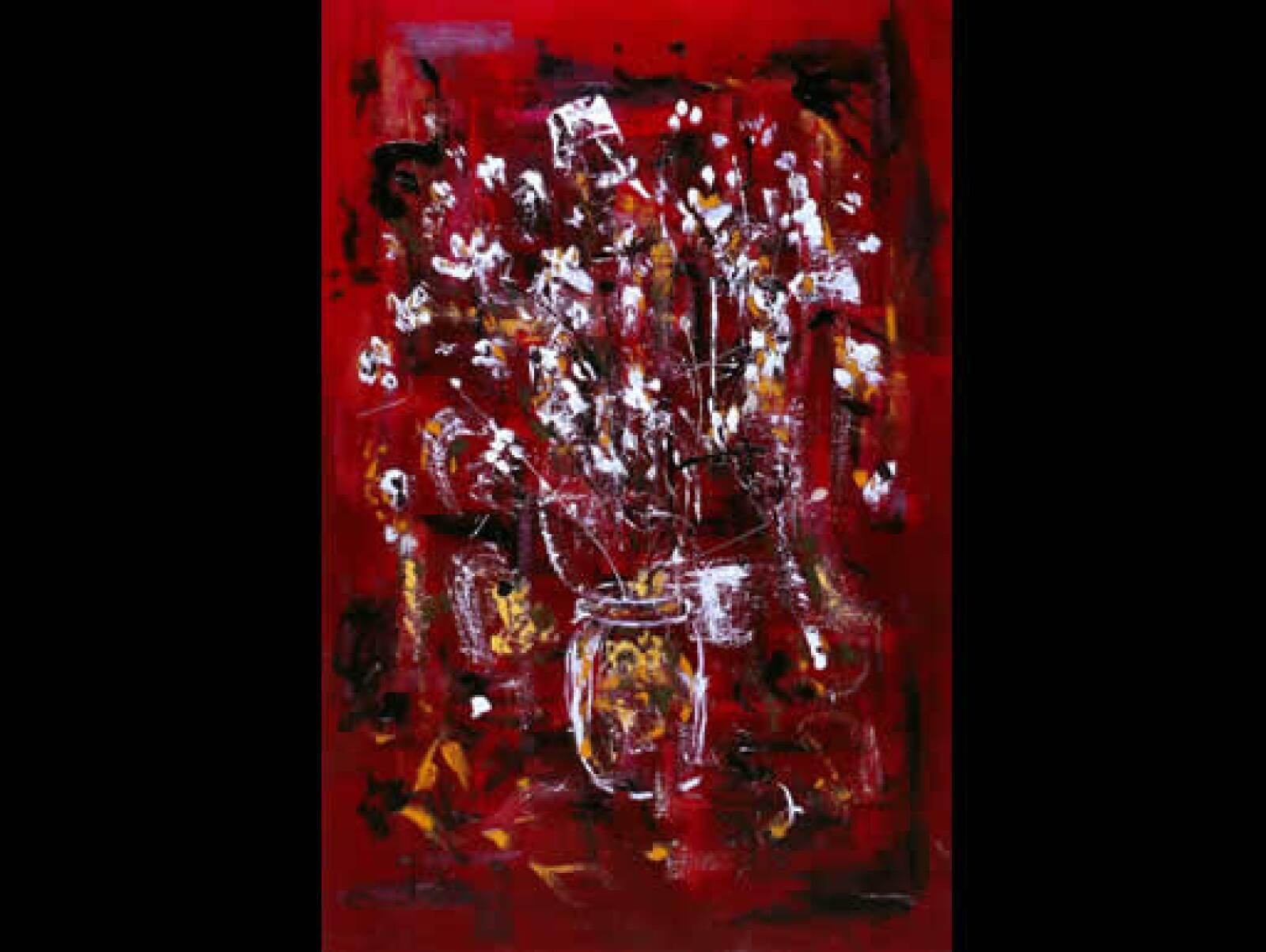 """Manuel Felguérez cree que Martí """"posee ya un oficio inicial. """"Florero"""", 2003, acrílico sobre tela, 1.20 x .80 m"""