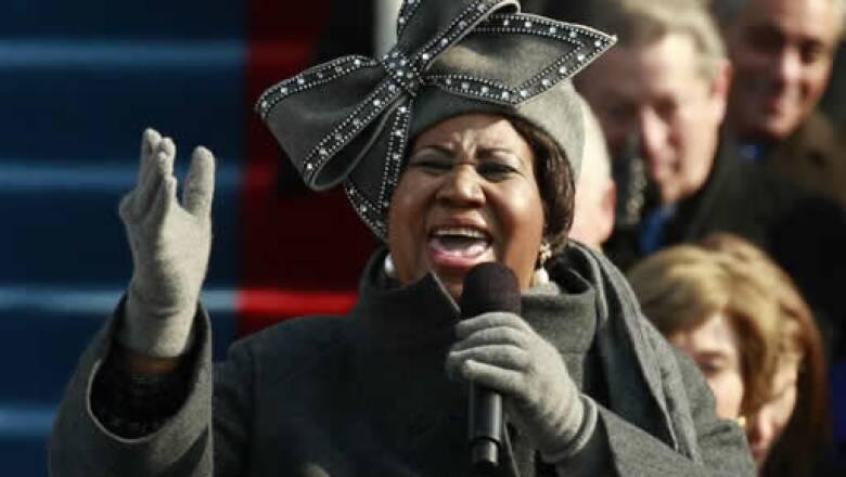 Aretha Franklin cantó durante la ceremonia en Washington.