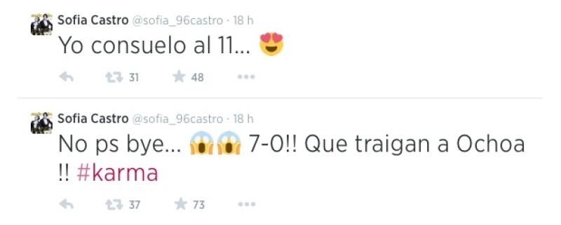 Sofía Castro expresó también su sorpresa por los resultados del partido y recordó el trabajo del portero mexicano Guillermo Ochoa.