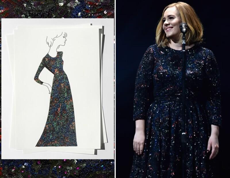 """Christopher Bailey, director creativo de Burberry, fue el encargado de diseñar el vestido negro de seda que la cantanté llevará a lo largo de su tour con el disco """"25""""."""