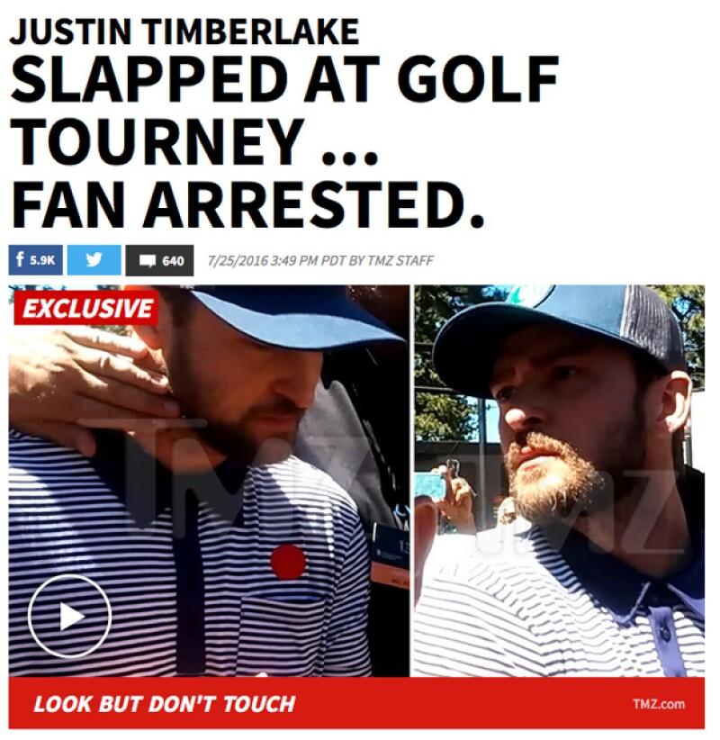 El músico se encontraba en un torneo de golf y, mientras caminaba entre la multitud, un sujeto metió la mano y alcanzó a tocar la cara de Justin, quien no dudó en enfrentarlo en ese momento.