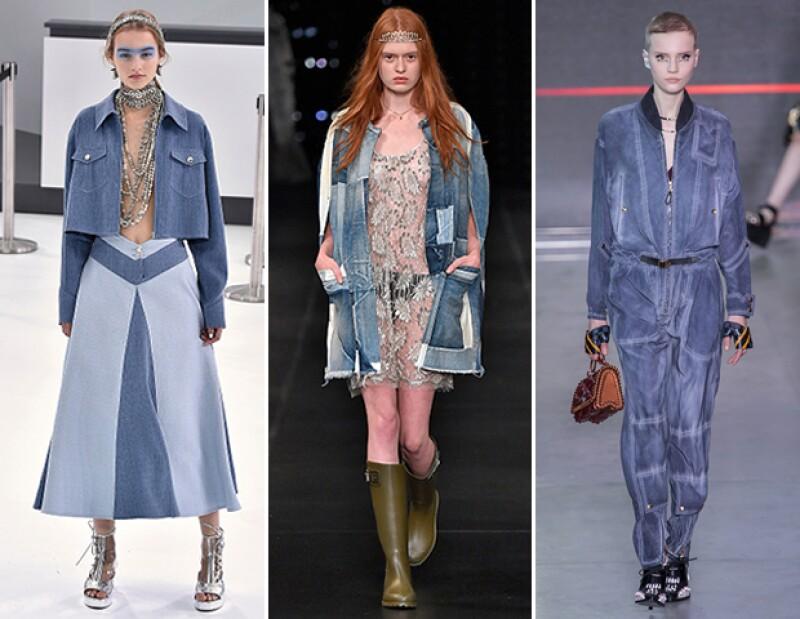 Mezclilla: Louis Vuitton, Saint Laurent y Louis Vuitton.