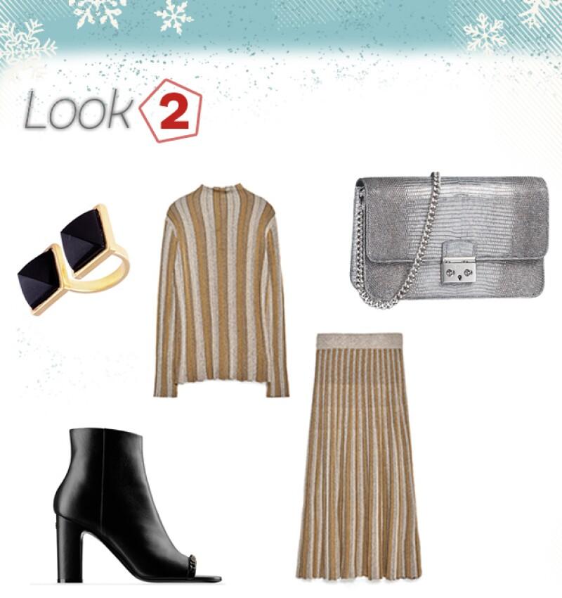 Anillo: Volu / Botines: Chanel / Falda y top: Zara / Bolsa: Dior