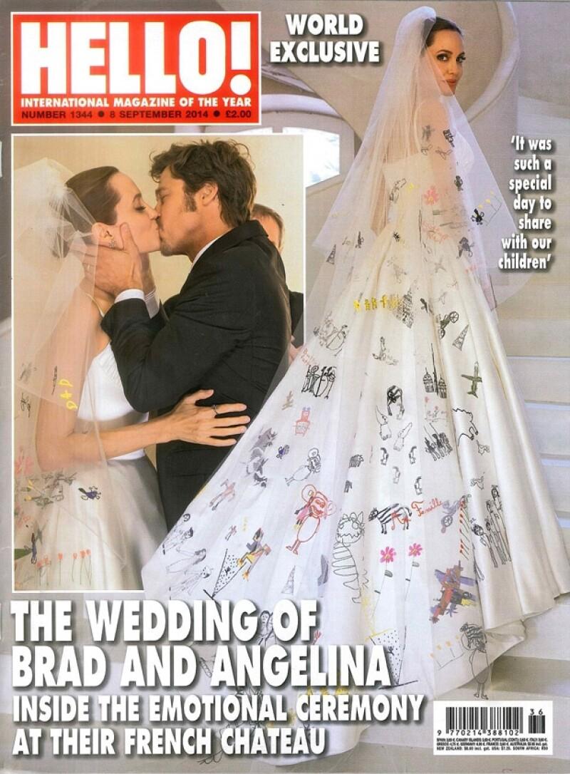 Las aplicaciones de dibujos también estuvieron montadas en el velo de la novia.