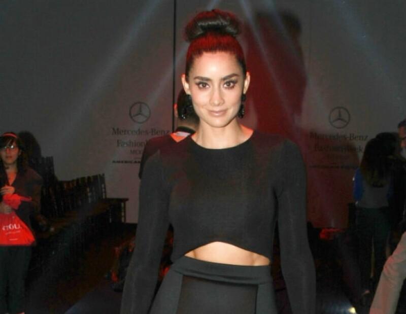Paola Núñez durante el Mercedes-Benz Fashion Week de la Ciudad de México a principios de octubre.