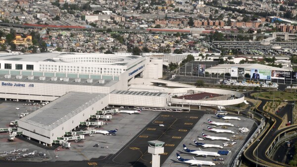 Aerial view of Benito Juarez Airport, Mexico City