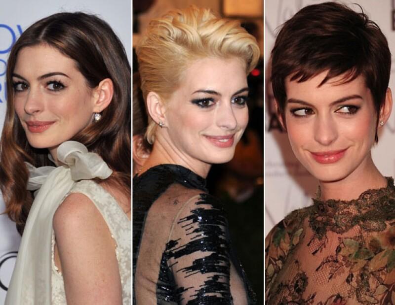 Anne Hathaway, guapa con el pelo corto.