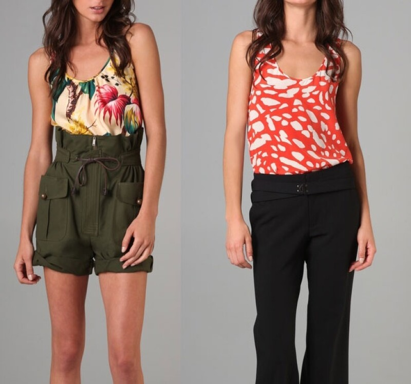 Aquí dos blusas con diferentes gráficos. A la izquierda un diseño de Thakoon y a la derecha uno de DSQUARED2.