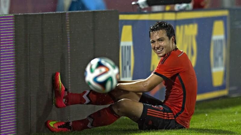 El delantero mexicano Erick ?el Cubo? Torres durante el partido de preparación de México ante Bolivia en Denver, Colorado