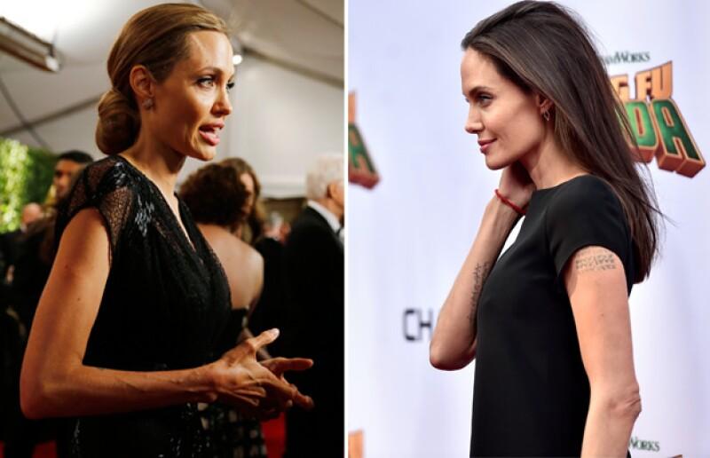 El antes y después de Angelina Jolie de hace un par de años (izquierda) a ahora (derecha).
