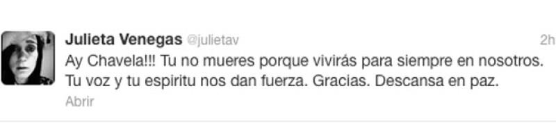 Alejandro Sanz, Gael García Bernal, Julieta Venegas, entre otros, escribieron a través de Twitter su pesar por el deceso de la cantante.