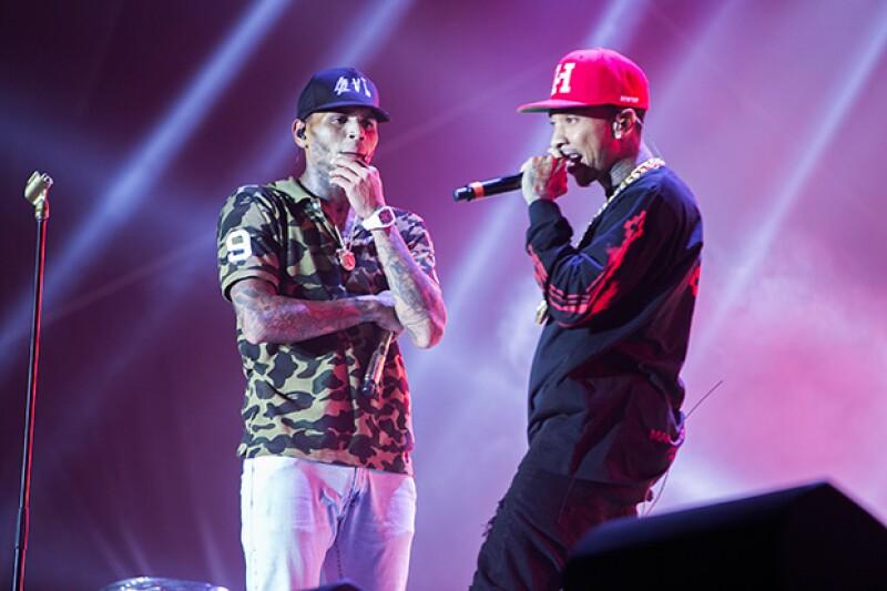 Tyga y Chris Brown en un reciente concierto.