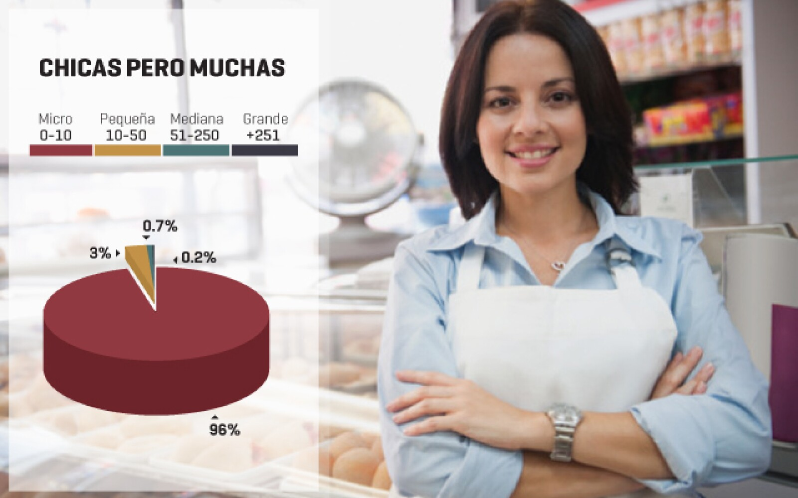 El 96% de las 5.1 millones de compañías en México operan únicamente con 10 empleados o menos. El 0.7% tiene de 10 a 50 trabajadores y un 3% trabaja con 51 a 250 personas. El 0.2% restante utiliza más de 251 empleados.