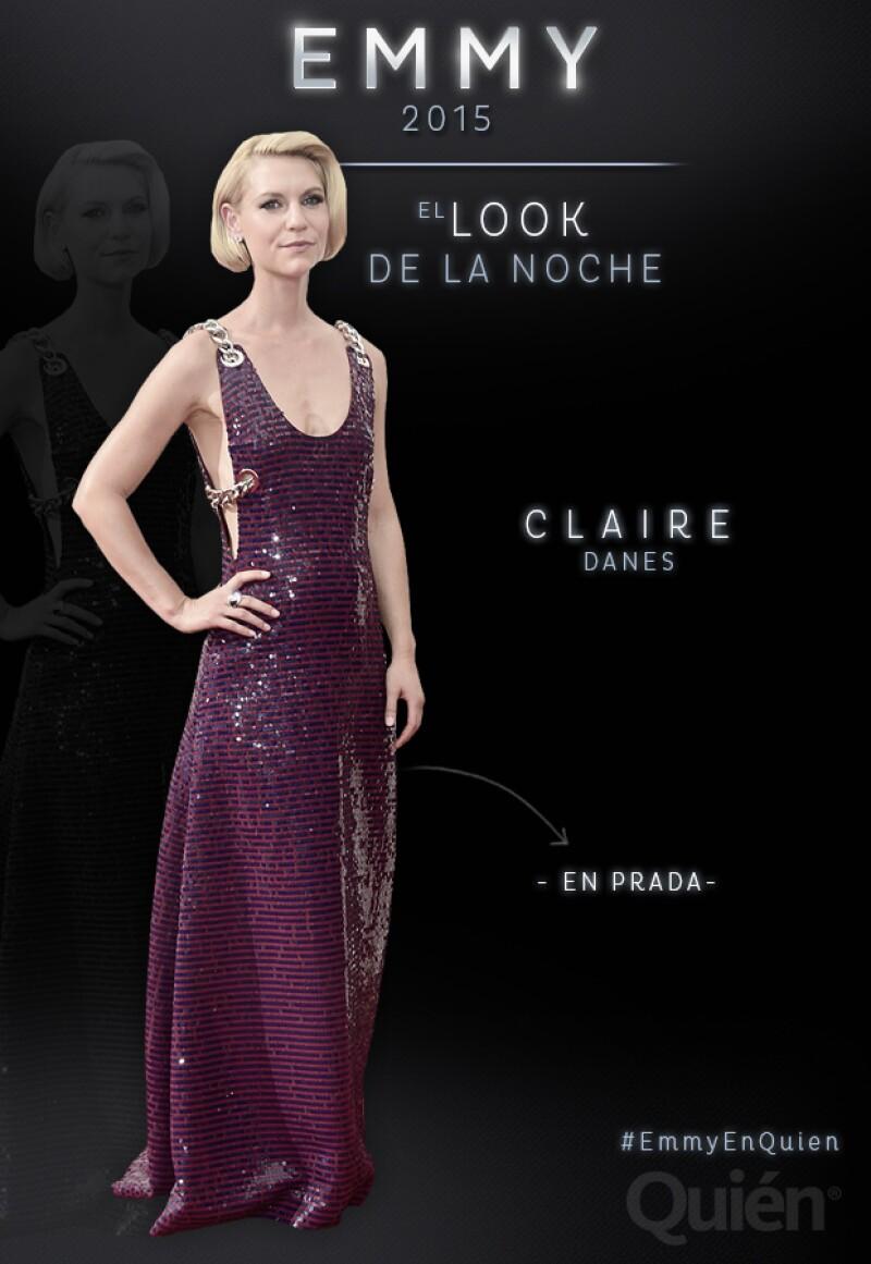 Los Emmy 2015 tiene una nueva protagonista. En esta ocasión Clare Danes impresionó con un vestido de lentejuelas de la colección primavera-verano 2016 de Prada.