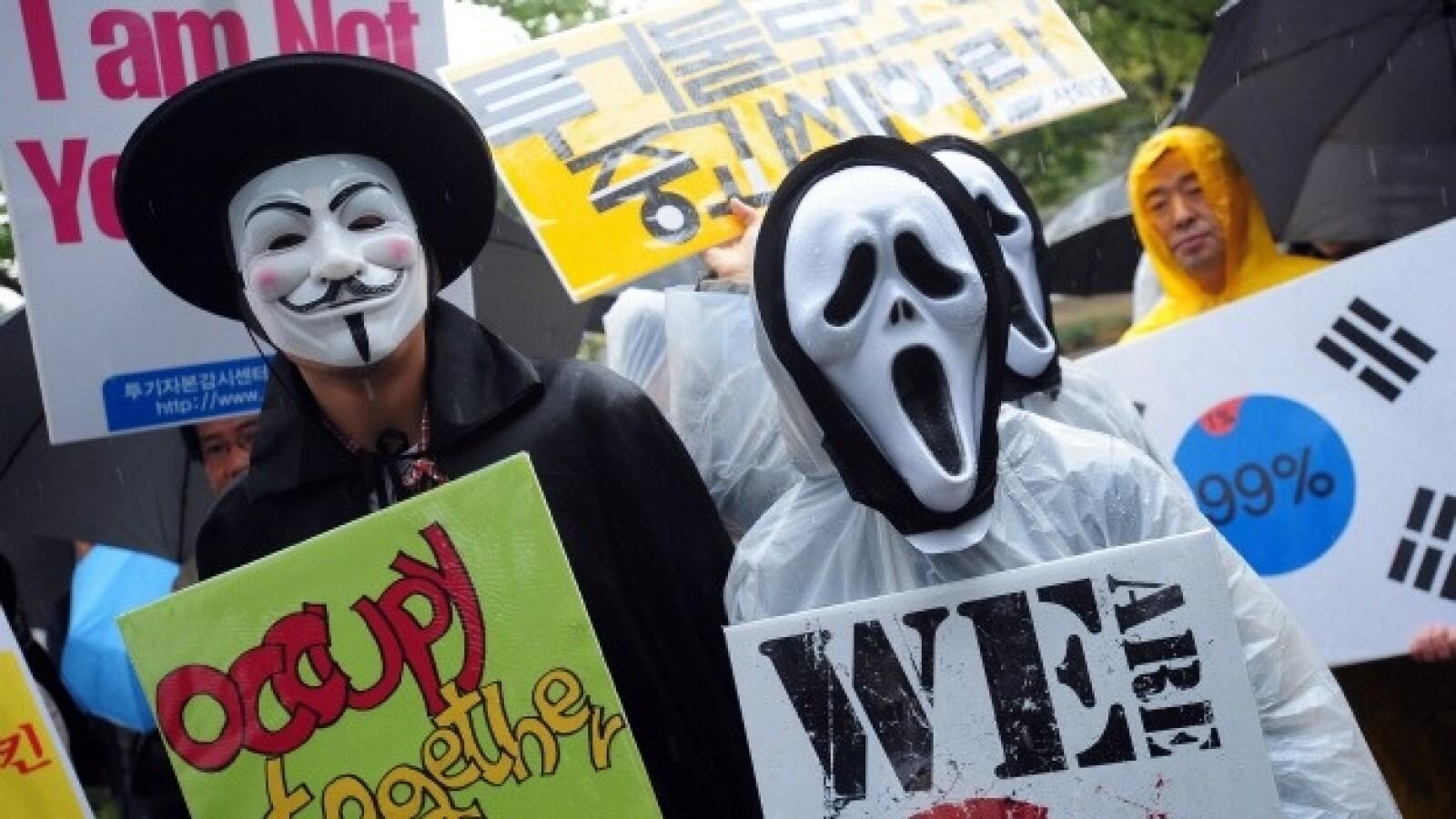 manifestaciones en seul, corea del sur