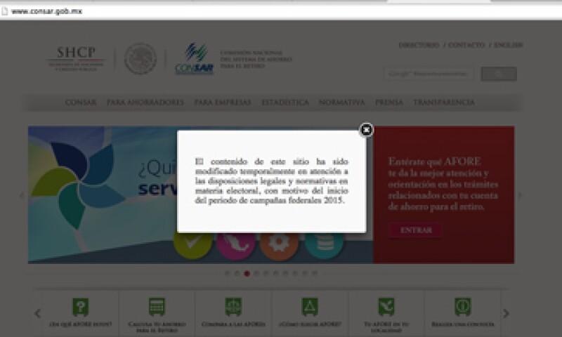 La Consar no modificará los contenidos de su página de internet pese a la disposición del INE.(Foto: Tomada de Consar )