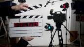 blank time code movie slate on set
