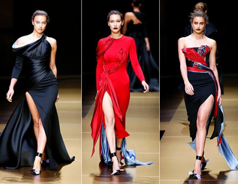Irina Shay, Bella Hadid y Taylor HIll en el desfile de Versace