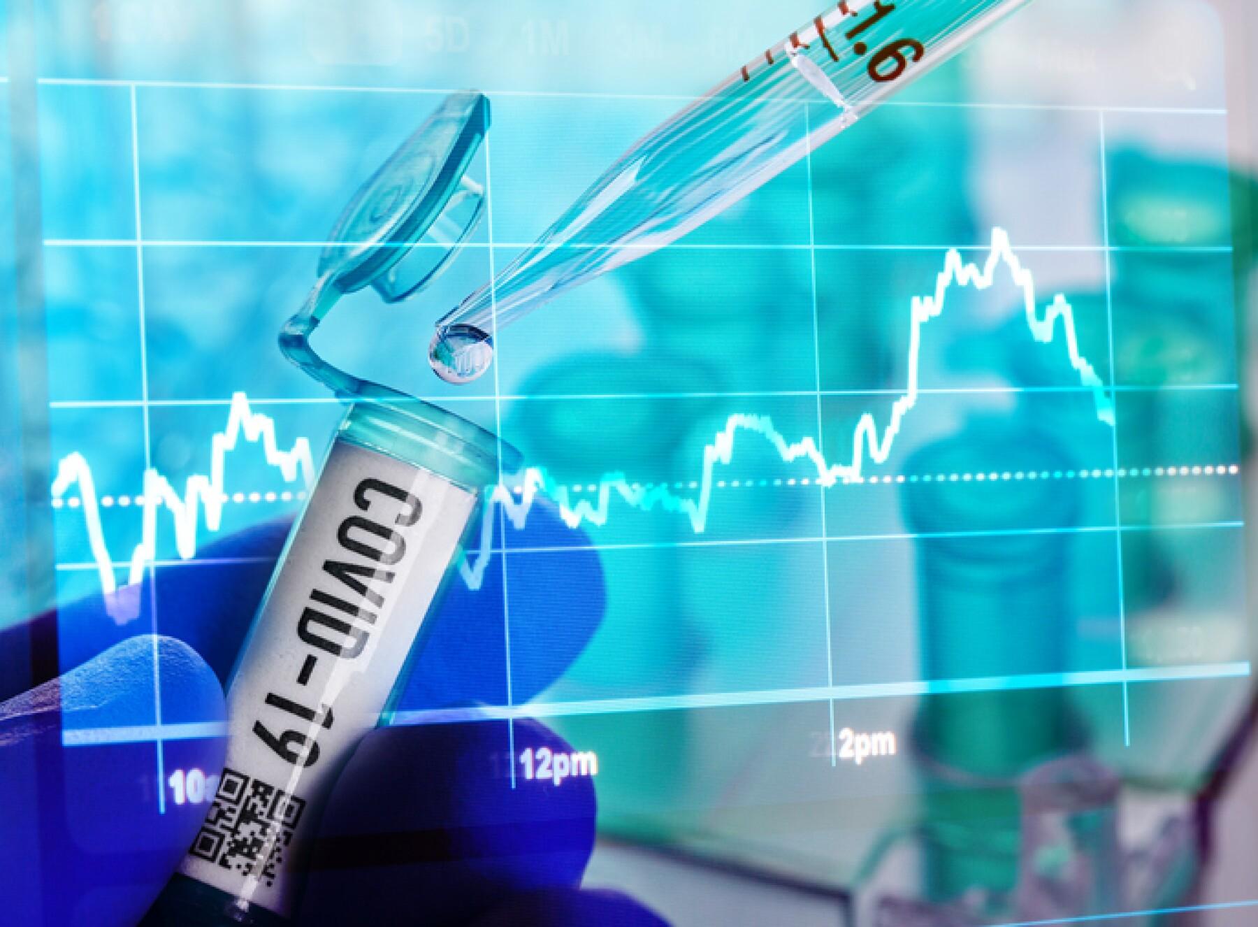 Corona virus: vial with corona virus, and stock chart covid-19