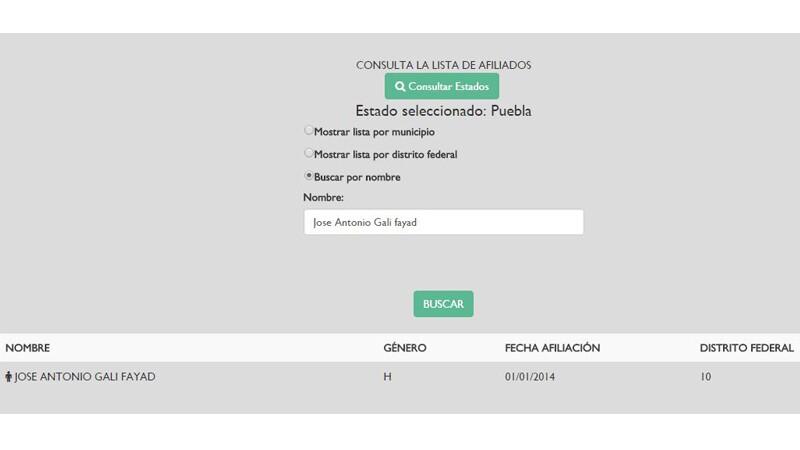El candidato panista al gobierno de Puebla aparece dentro de esta lista