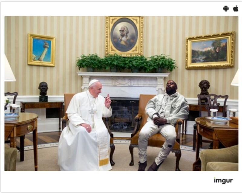 """Kanye y su """"reacción"""" ante el Papa."""